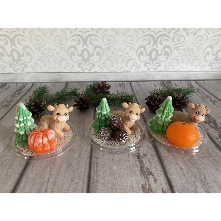 Набор бычок, елка, мандарин или шишки - Упаковка купол